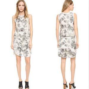 Vince White Silk Marble Jacquard Drawstring Dress
